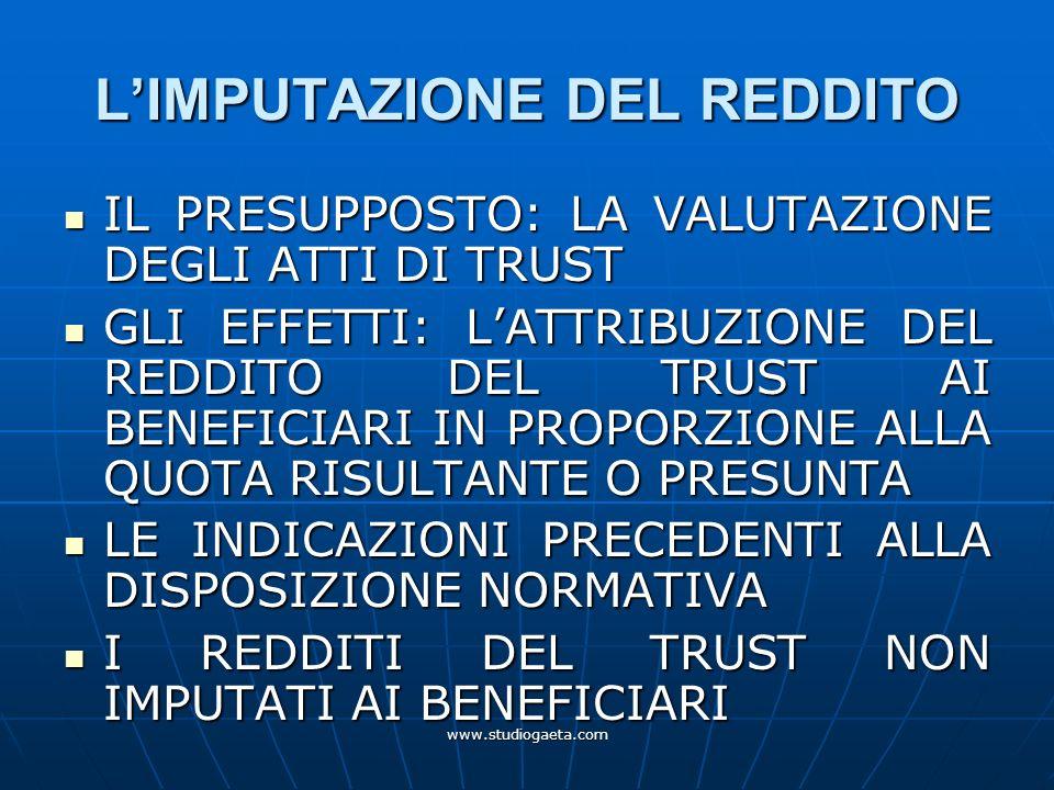 L'IMPUTAZIONE DEL REDDITO