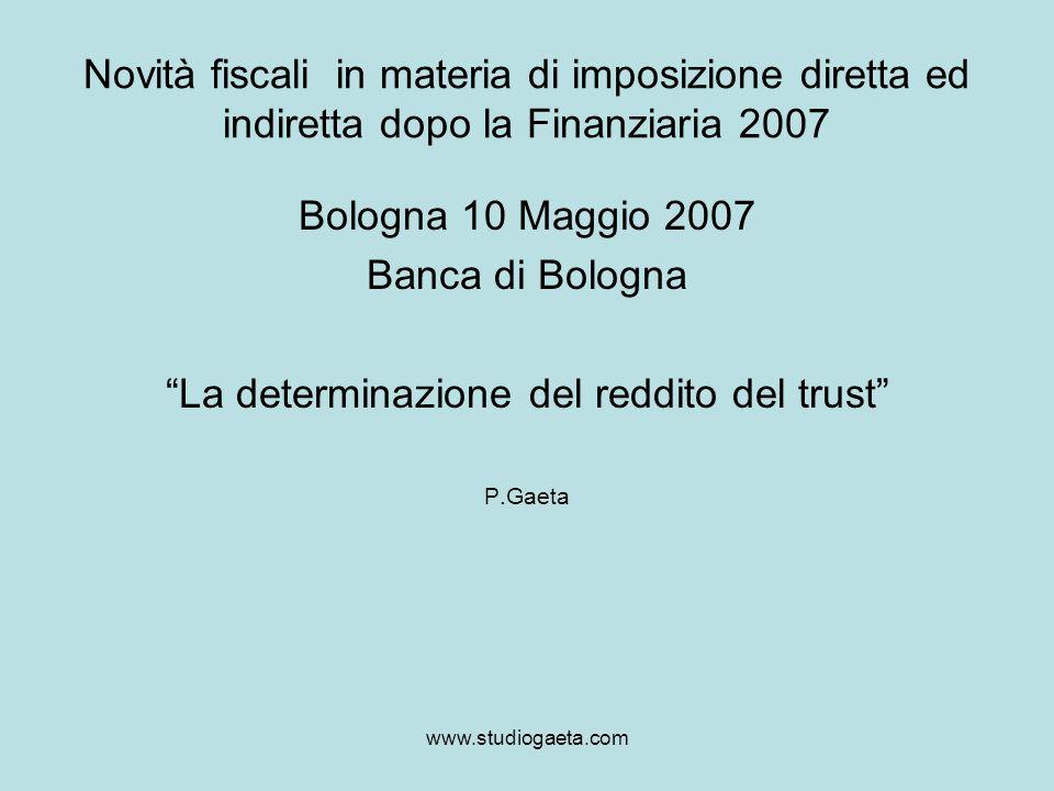 La determinazione del reddito del trust