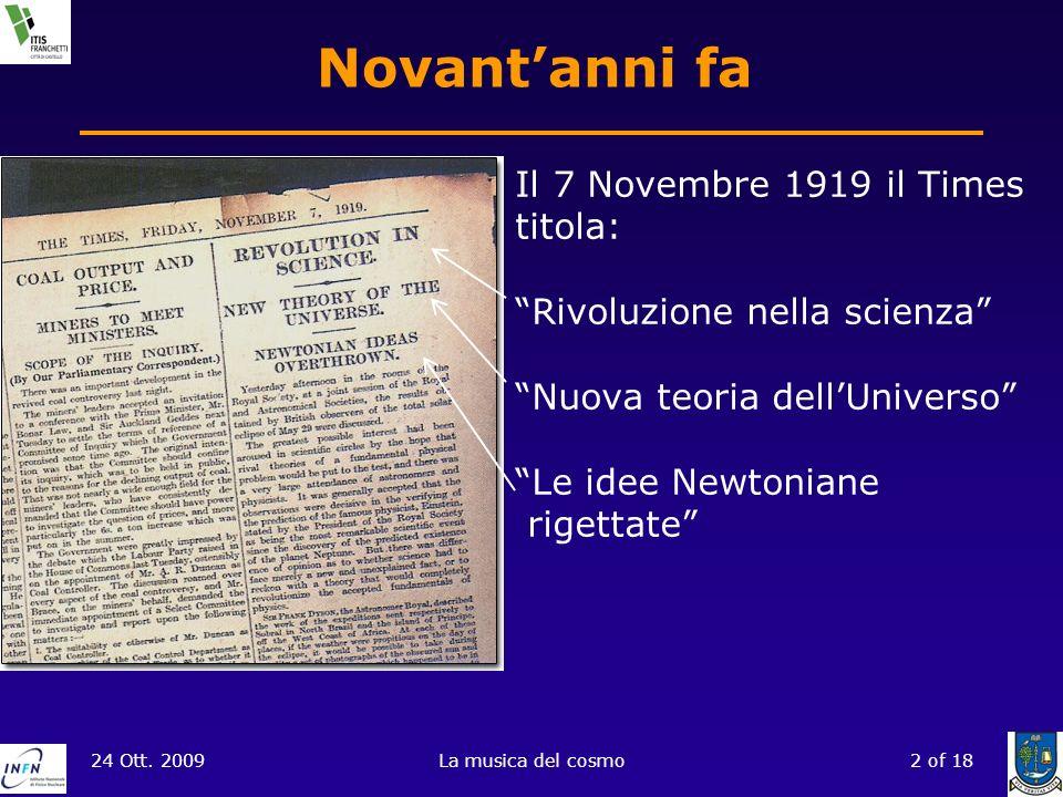 Novant'anni fa Il 7 Novembre 1919 il Times titola: Rivoluzione nella scienza Nuova teoria dell'Universo Le idee Newtoniane rigettate