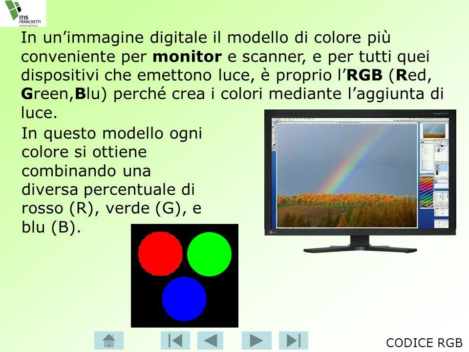 In un'immagine digitale il modello di colore più conveniente per monitor e scanner, e per tutti quei dispositivi che emettono luce, è proprio l'RGB (Red, Green,Blu) perché crea i colori mediante l'aggiunta di luce.