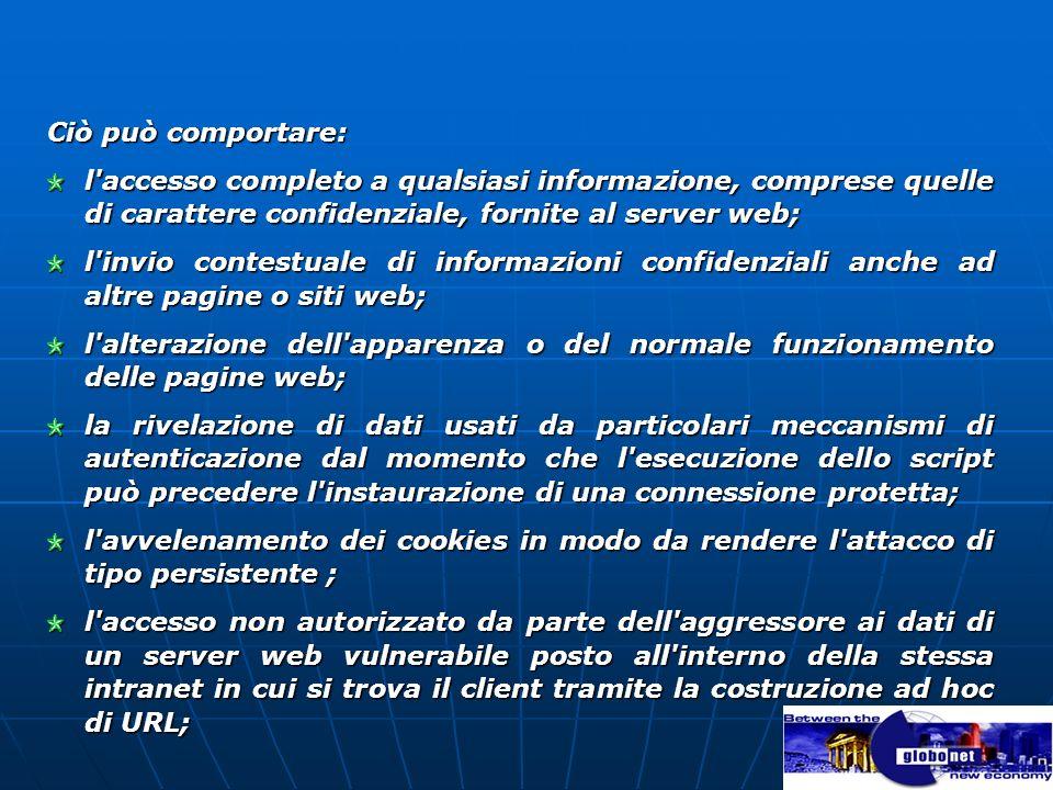 Ciò può comportare: l accesso completo a qualsiasi informazione, comprese quelle di carattere confidenziale, fornite al server web;