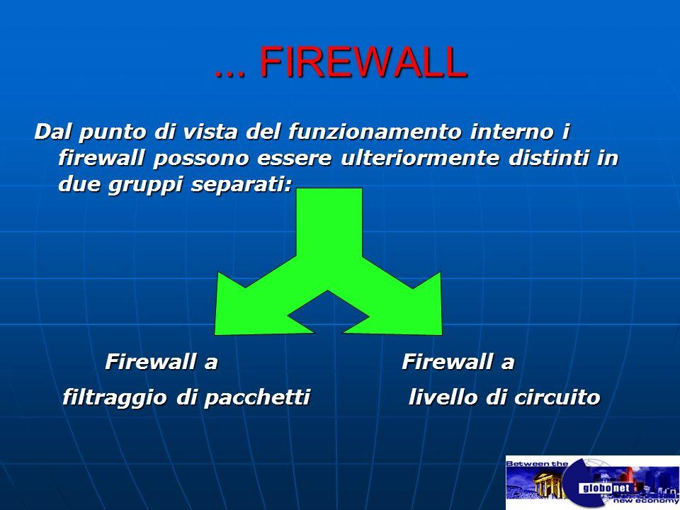 ... FIREWALL Dal punto di vista del funzionamento interno i firewall possono essere ulteriormente distinti in due gruppi separati: