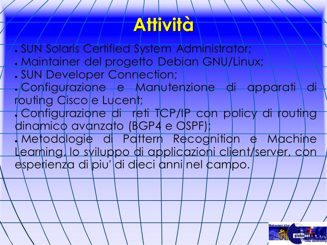 Attività SUN Solaris Certified System Administrator;