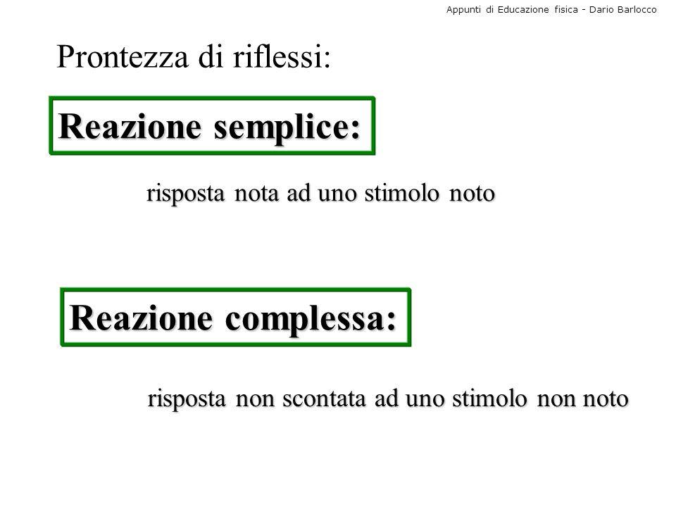Reazione semplice: Reazione complessa: Prontezza di riflessi: