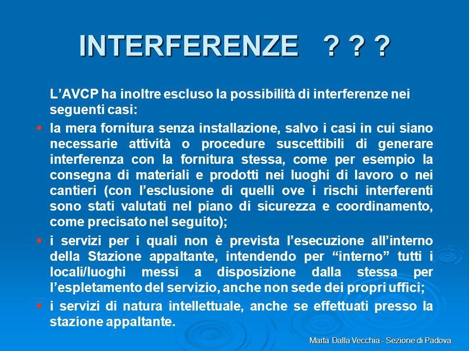 INTERFERENZE L'AVCP ha inoltre escluso la possibilità di interferenze nei seguenti casi: