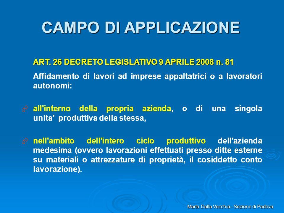 CAMPO DI APPLICAZIONE ART. 26 DECRETO LEGISLATIVO 9 APRILE 2008 n. 81
