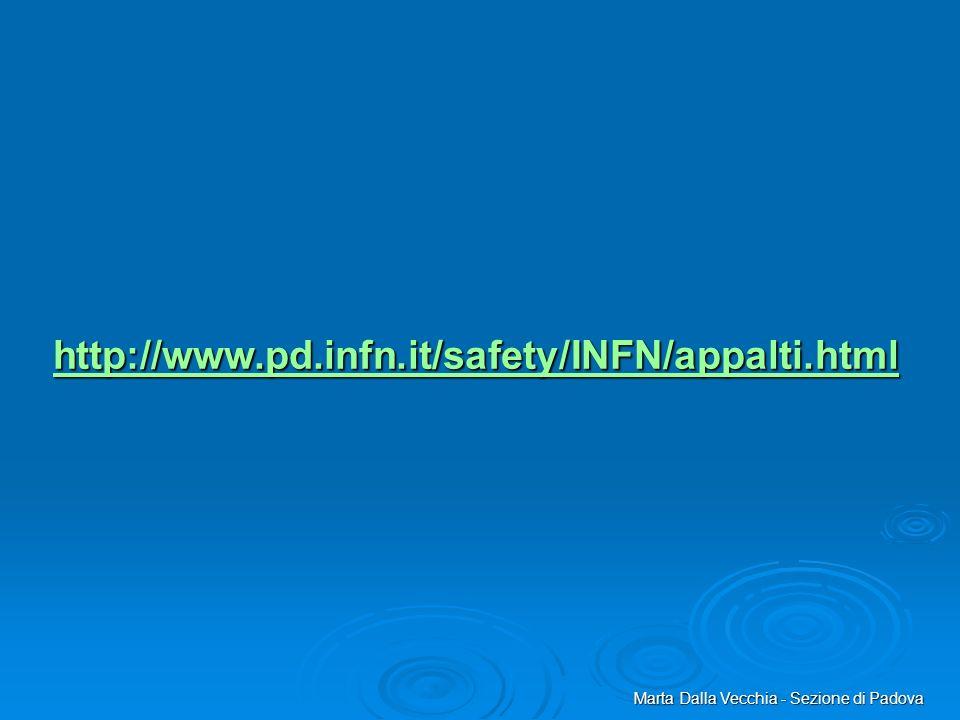 http://www.pd.infn.it/safety/INFN/appalti.html Marta Dalla Vecchia - Sezione di Padova
