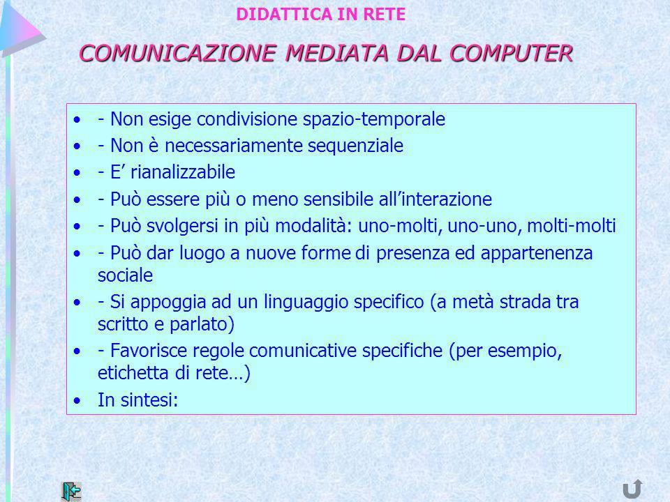 COMUNICAZIONE MEDIATA DAL COMPUTER