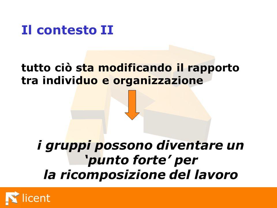 Il contesto II tutto ciò sta modificando il rapporto tra individuo e organizzazione.