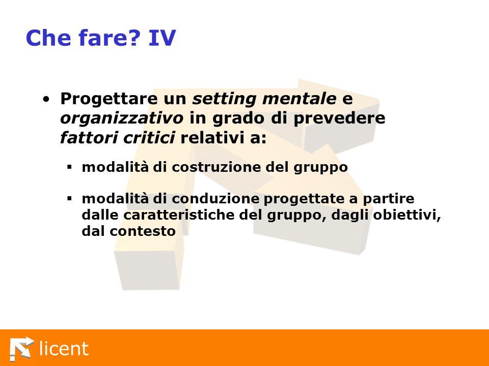 Che fare IV Progettare un setting mentale e organizzativo in grado di prevedere fattori critici relativi a:
