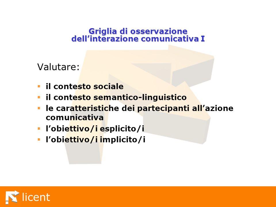 Griglia di osservazione dell'interazione comunicativa I