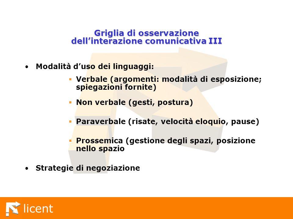 Griglia di osservazione dell'interazione comunicativa III