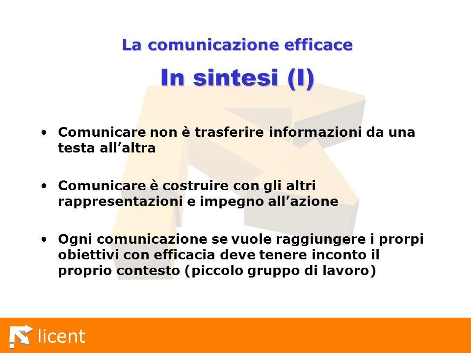 La comunicazione efficace In sintesi (I)