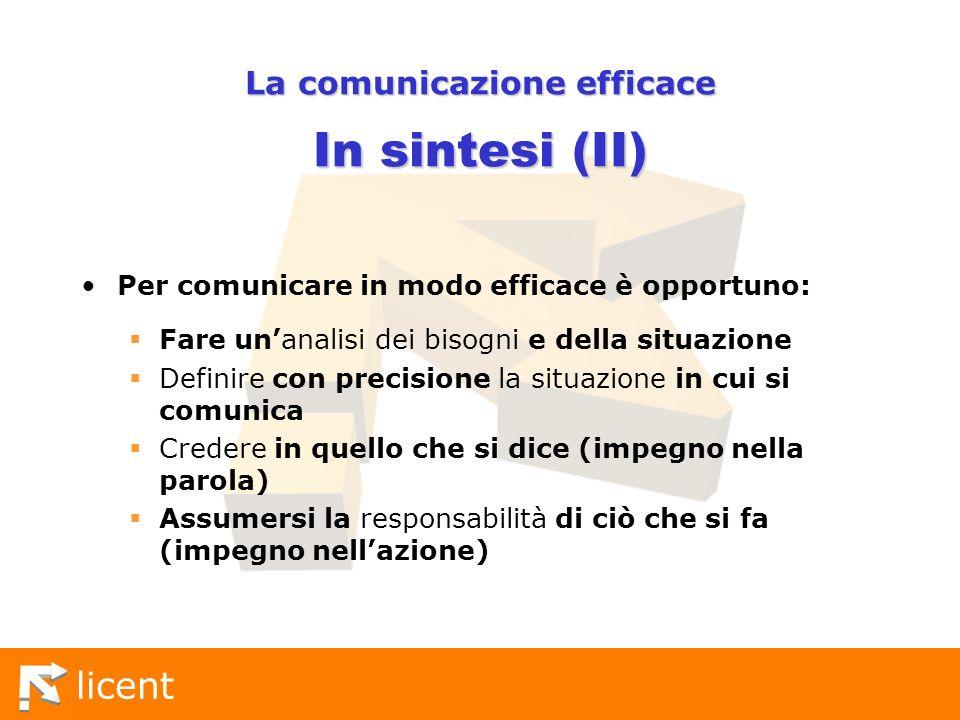 La comunicazione efficace In sintesi (II)