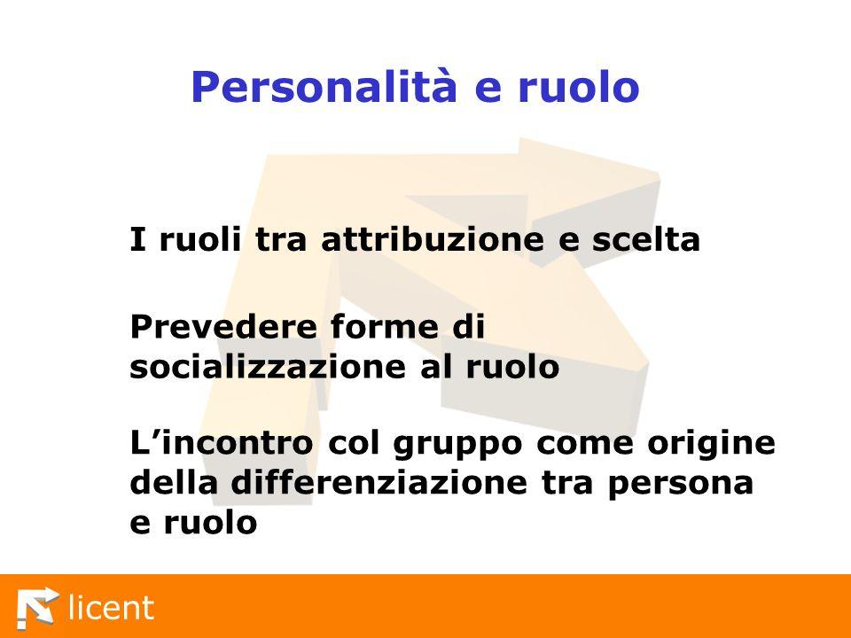 Personalità e ruolo I ruoli tra attribuzione e scelta