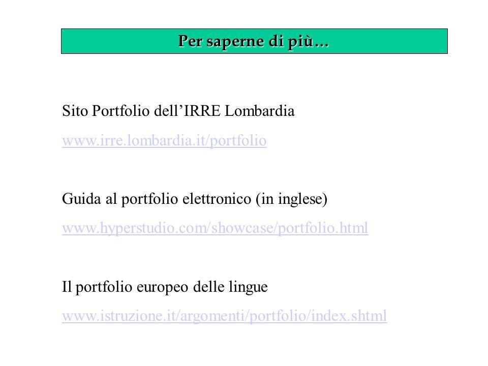 Per saperne di più… Sito Portfolio dell'IRRE Lombardia. www.irre.lombardia.it/portfolio. Guida al portfolio elettronico (in inglese)