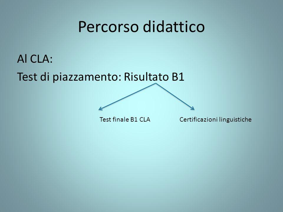 Percorso didattico Al CLA: Test di piazzamento: Risultato B1