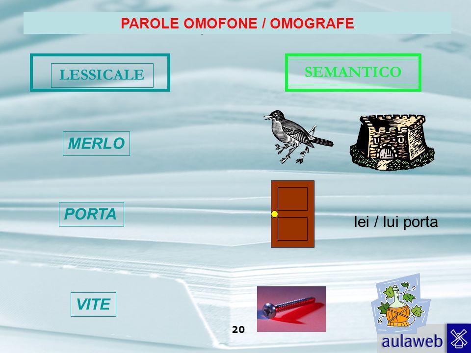 PAROLE OMOFONE / OMOGRAFE