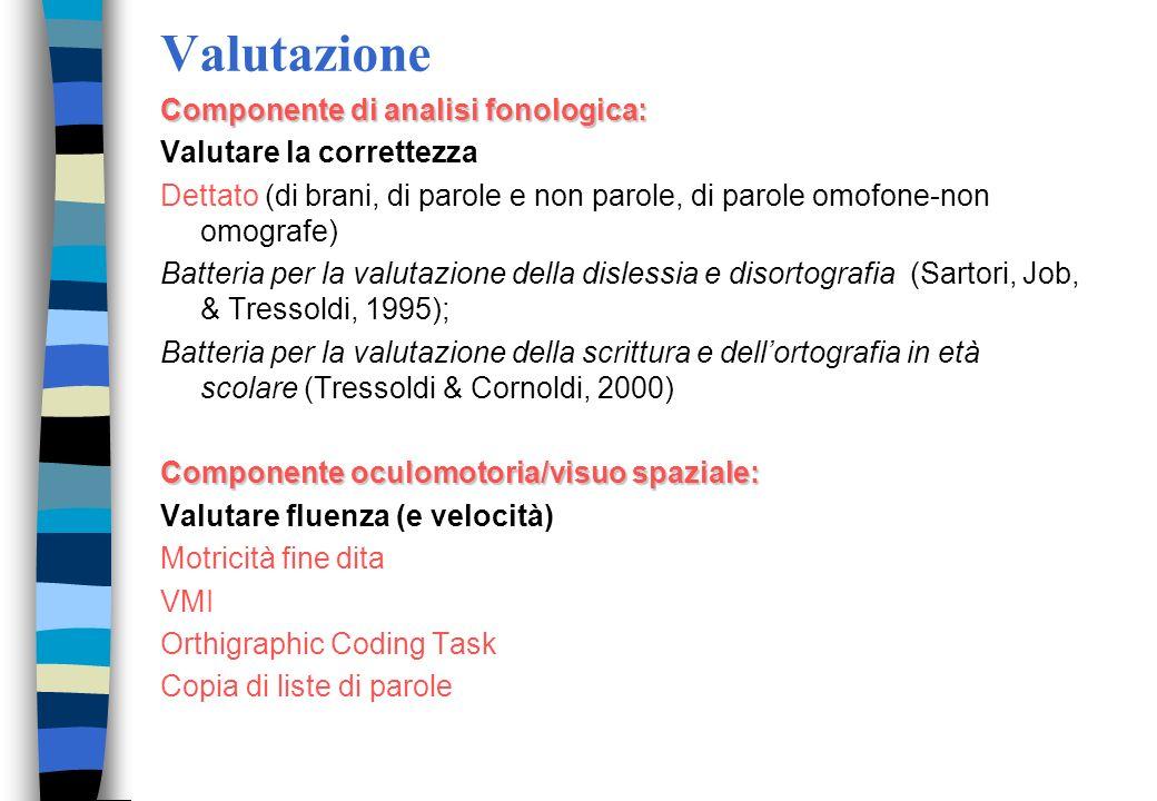 Valutazione Componente di analisi fonologica: Valutare la correttezza