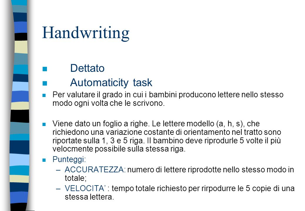Handwriting Dettato Automaticity task