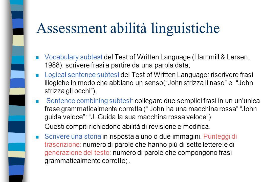 Assessment abilità linguistiche
