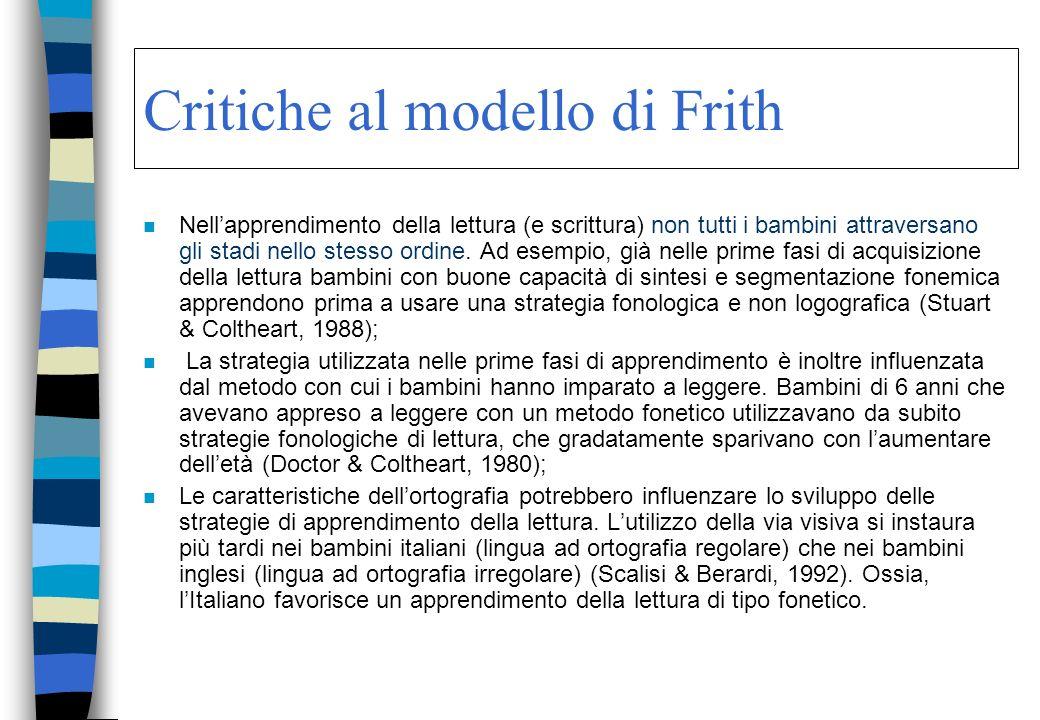 Critiche al modello di Frith