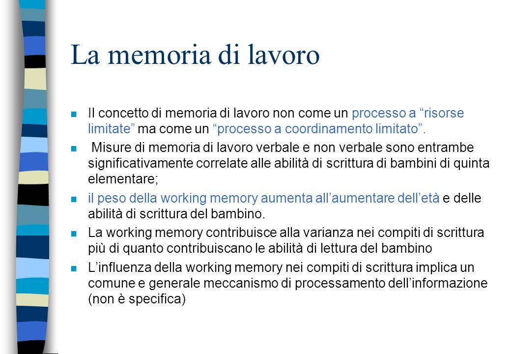 La memoria di lavoro Il concetto di memoria di lavoro non come un processo a risorse limitate ma come un processo a coordinamento limitato .