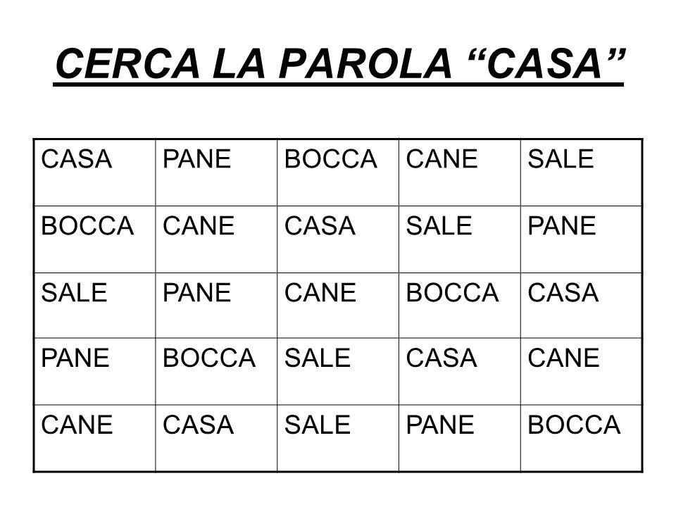 CERCA LA PAROLA CASA CASA PANE BOCCA CANE SALE