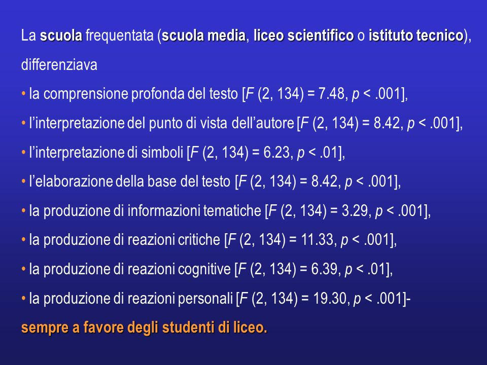 La scuola frequentata (scuola media, liceo scientifico o istituto tecnico), differenziava