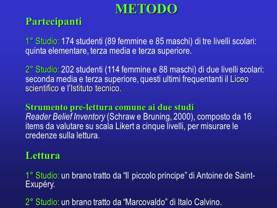 METODO Partecipanti Lettura