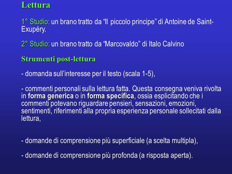 Lettura 1° Studio: un brano tratto da Il piccolo principe di Antoine de Saint-Exupéry. 2° Studio: un brano tratto da Marcovaldo di Italo Calvino.