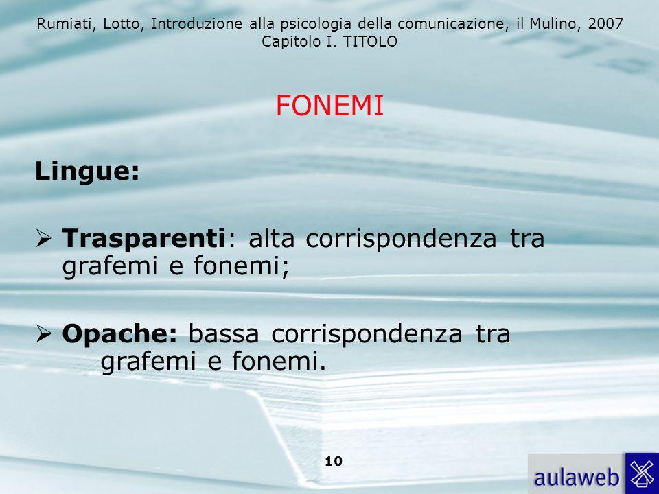 FONEMI Lingue: Trasparenti: alta corrispondenza tra grafemi e fonemi;