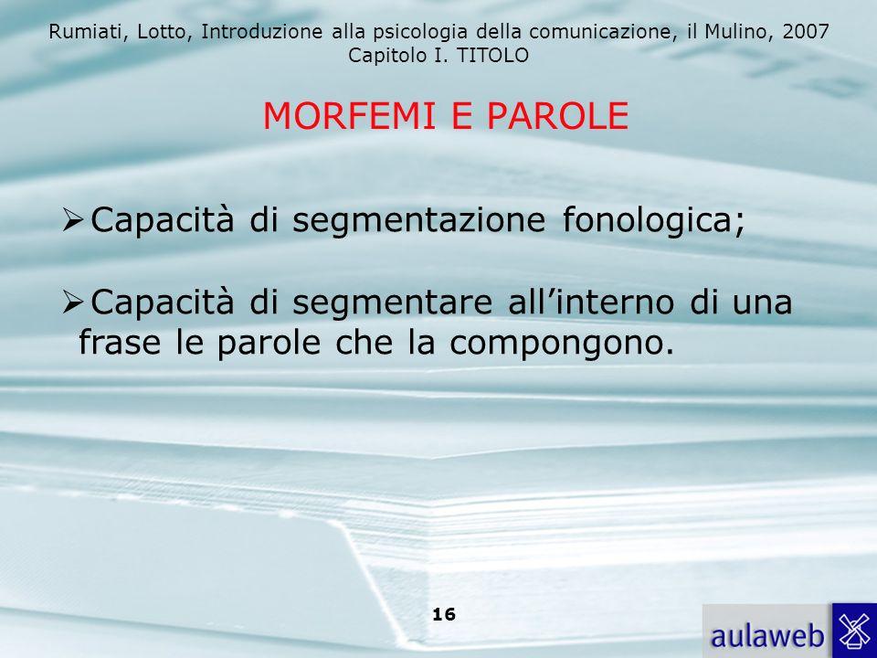 MORFEMI E PAROLE Capacità di segmentazione fonologica;