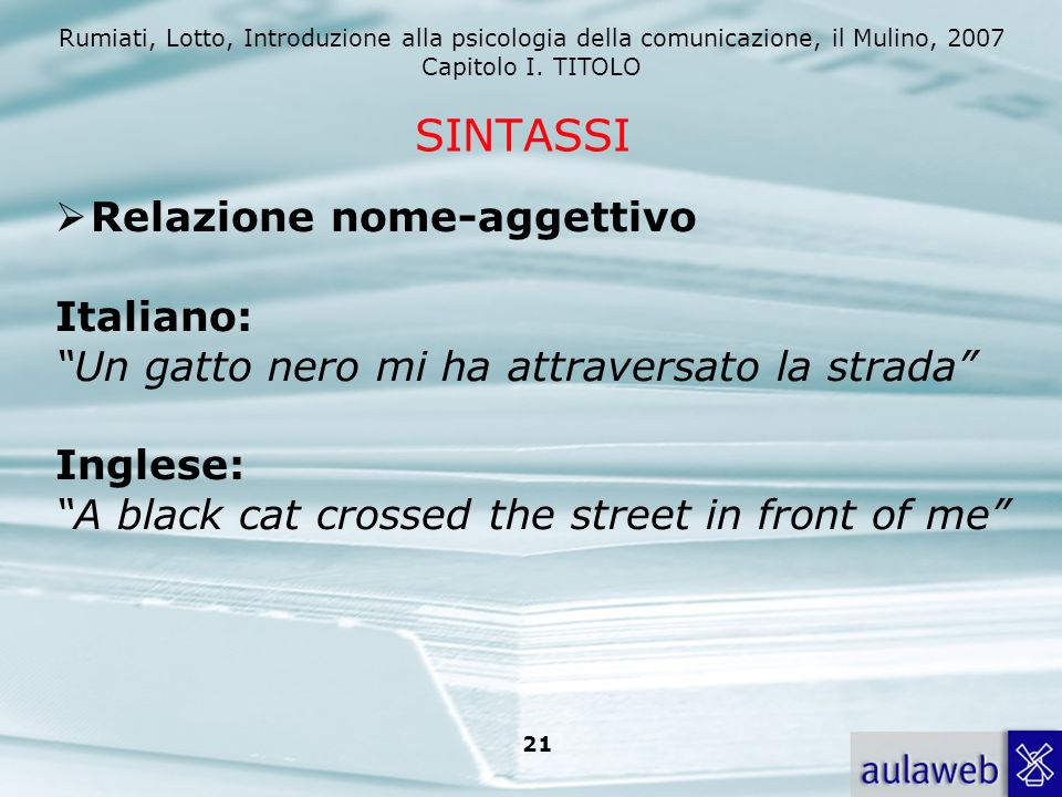 SINTASSI Relazione nome-aggettivo Italiano: