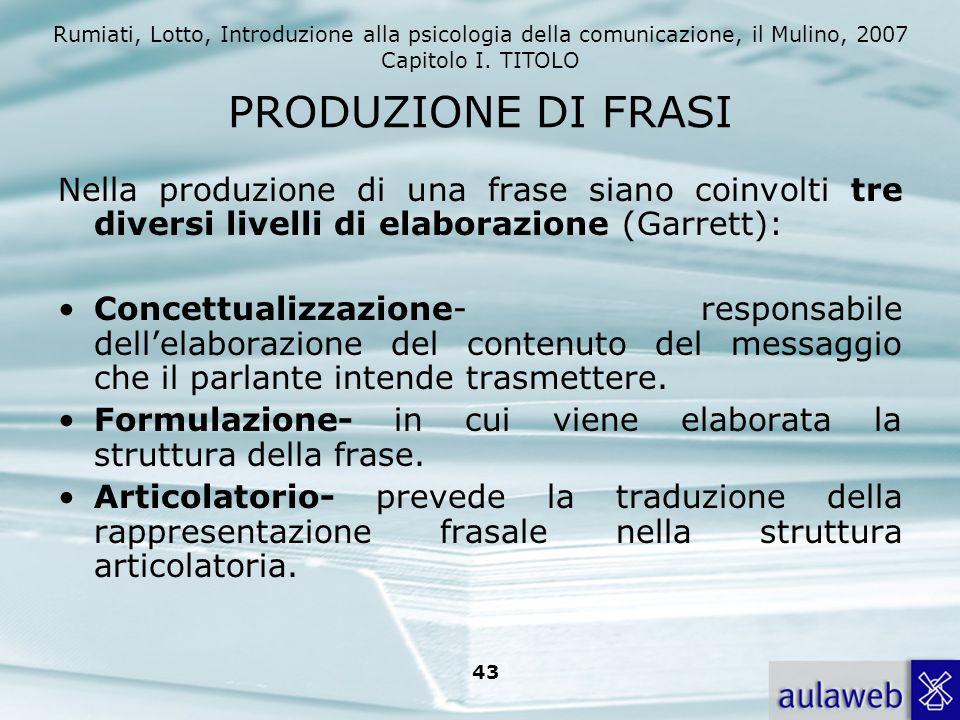 PRODUZIONE DI FRASI Nella produzione di una frase siano coinvolti tre diversi livelli di elaborazione (Garrett):