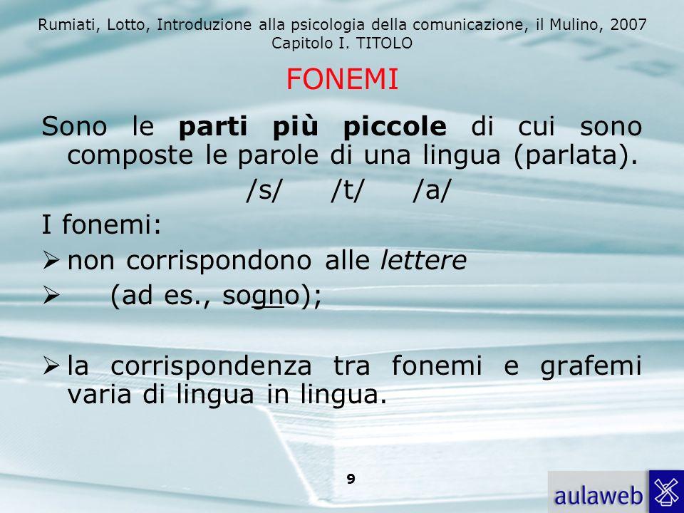 FONEMI Sono le parti più piccole di cui sono composte le parole di una lingua (parlata). /s/ /t/ /a/