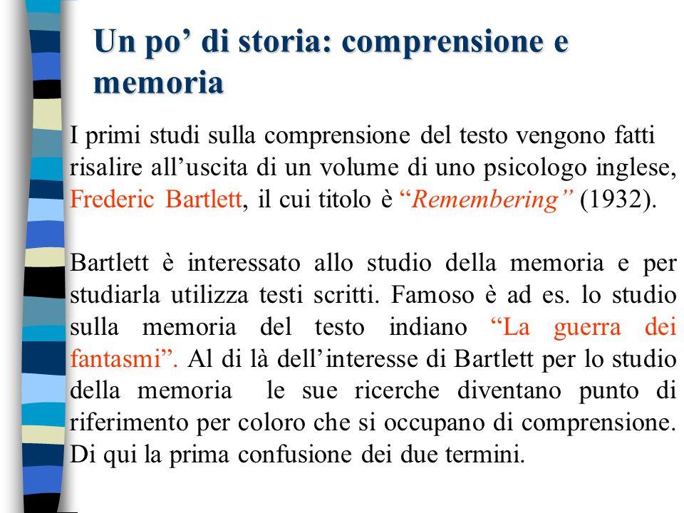 Un po' di storia: comprensione e memoria