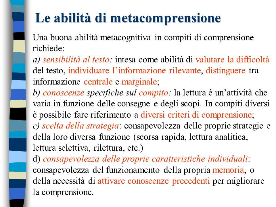 Le abilità di metacomprensione