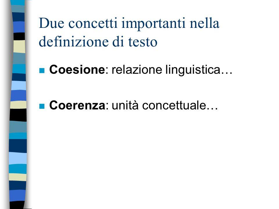 Due concetti importanti nella definizione di testo