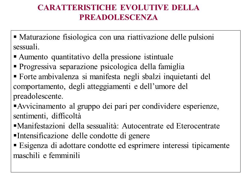 CARATTERISTICHE EVOLUTIVE DELLA PREADOLESCENZA