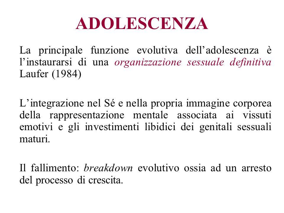 ADOLESCENZA La principale funzione evolutiva dell'adolescenza è l'instaurarsi di una organizzazione sessuale definitiva Laufer (1984)