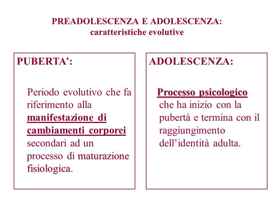 PREADOLESCENZA E ADOLESCENZA: caratteristiche evolutive