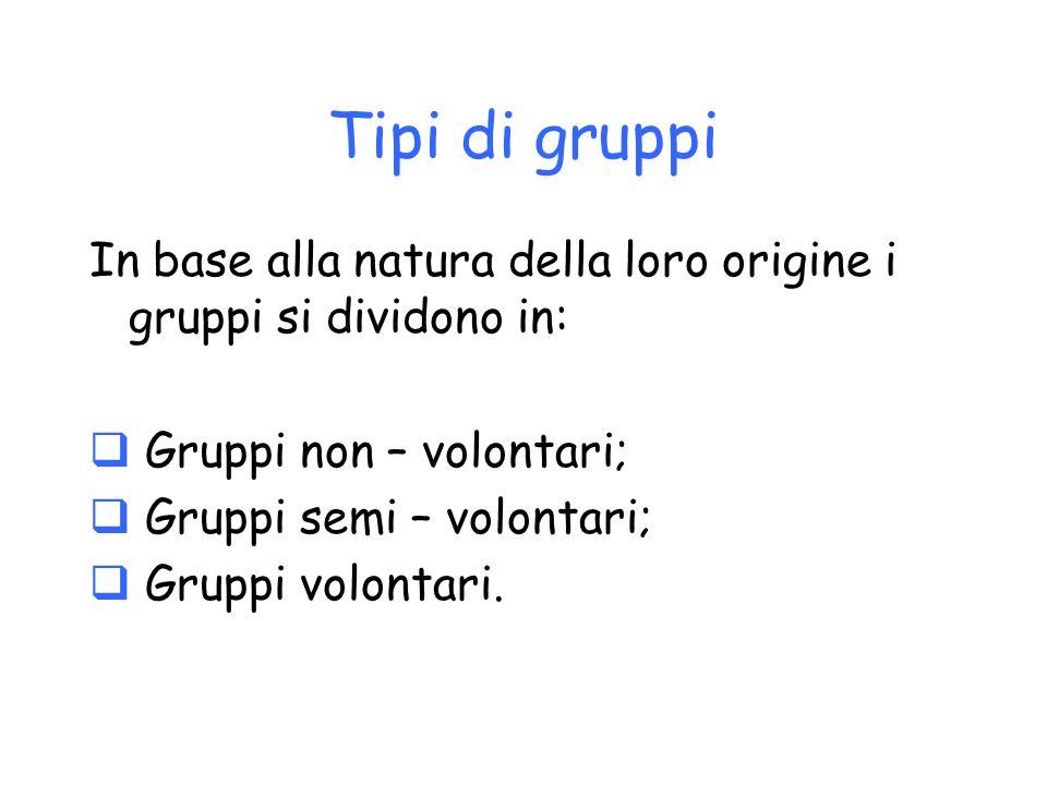 Tipi di gruppi In base alla natura della loro origine i gruppi si dividono in: Gruppi non – volontari;