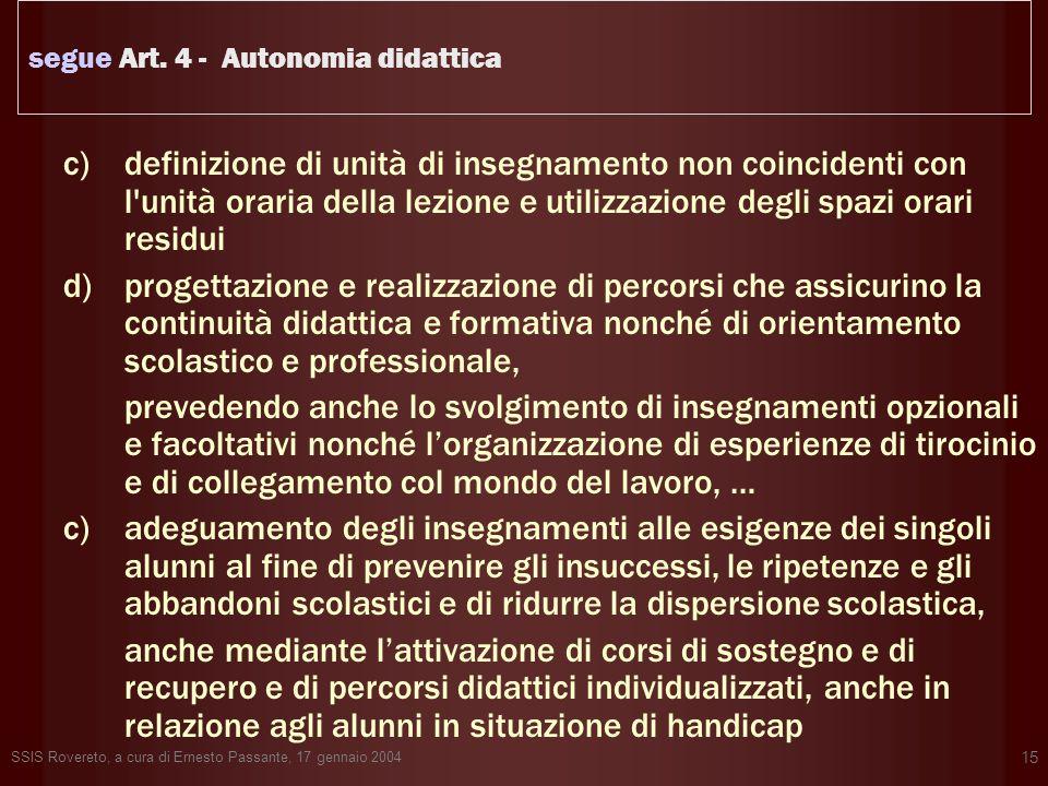 segue Art. 4 - Autonomia didattica
