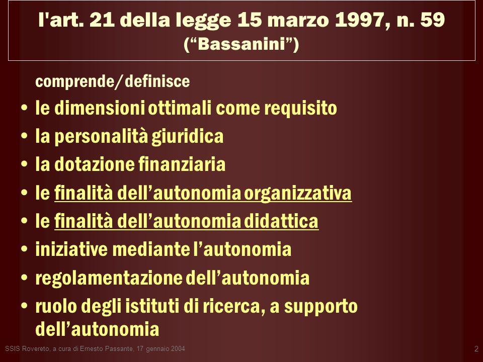 l art. 21 della legge 15 marzo 1997, n. 59 ( Bassanini )