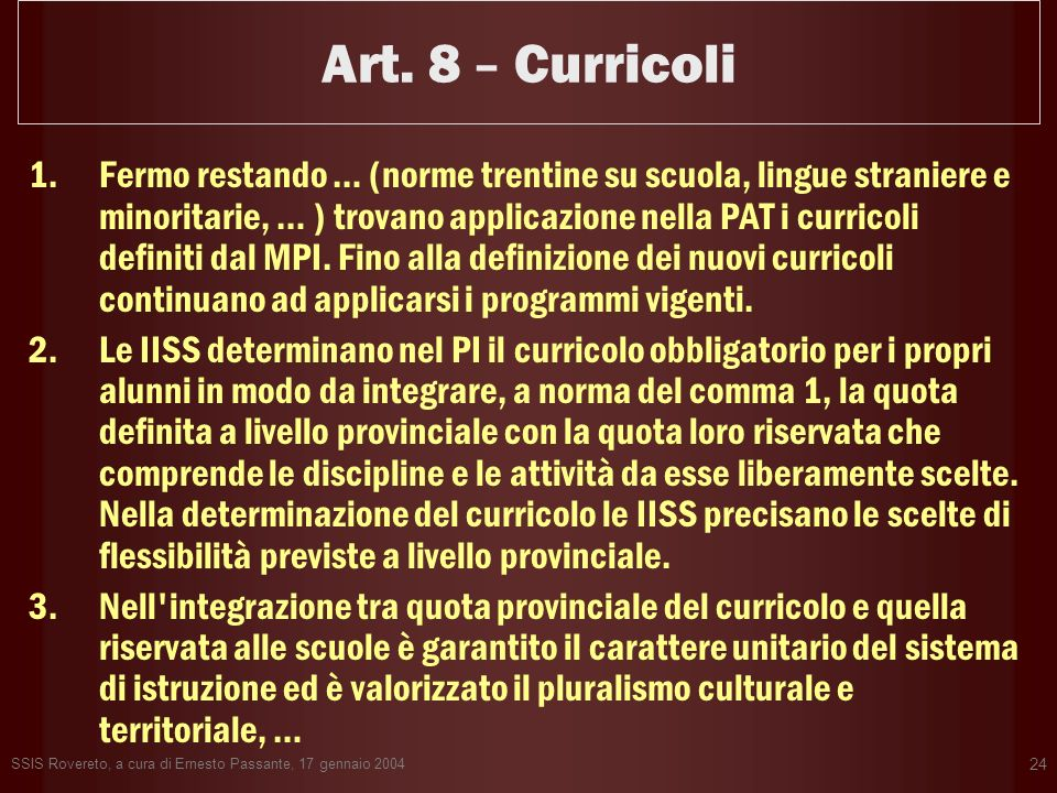 Art. 8 – Curricoli