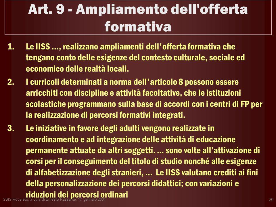 Art. 9 - Ampliamento dell offerta formativa