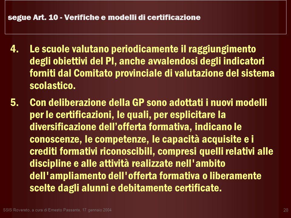 segue Art. 10 - Verifiche e modelli di certificazione