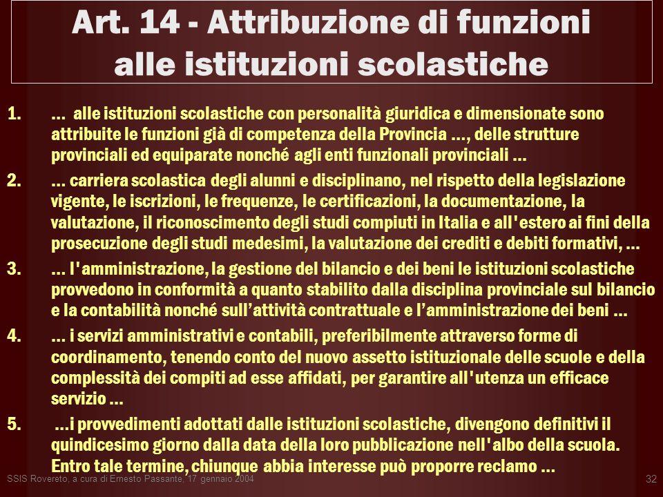 Art. 14 - Attribuzione di funzioni alle istituzioni scolastiche