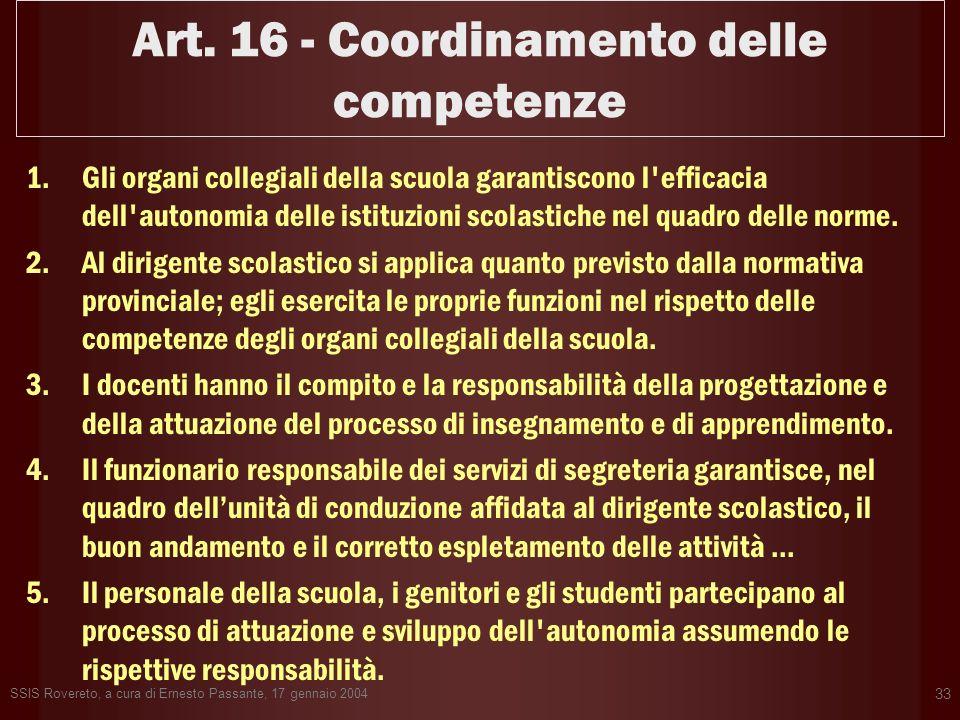 Art. 16 - Coordinamento delle competenze